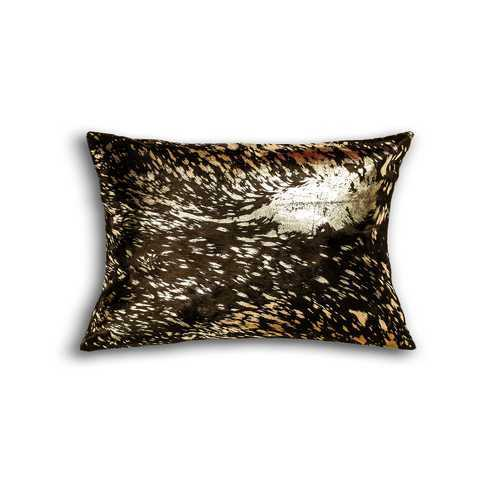 "12"" x 20"" x 5"" Chocolate And Gold Cowhide - Pillow"