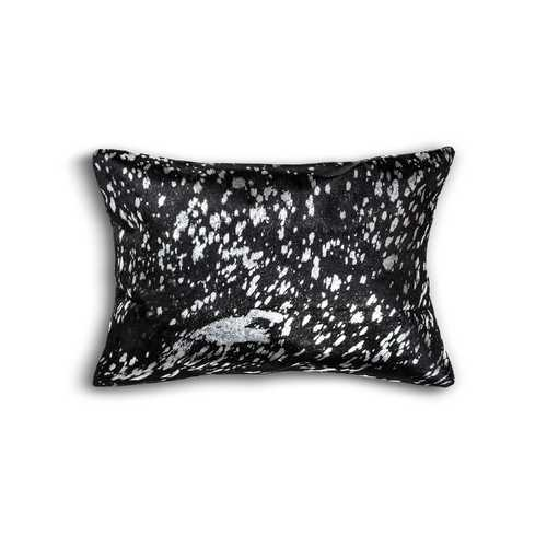 "12"" x 20"" x 5"" Black And Silver Cowhide - Pillow"