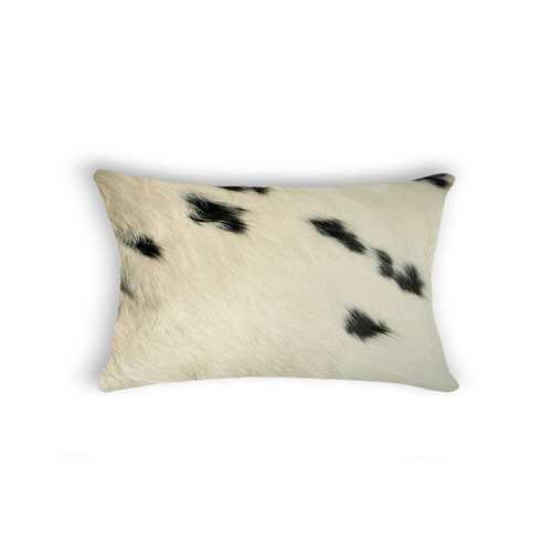 "12"" x 20"" x 5"" White And Black Cowhide - Pillow"