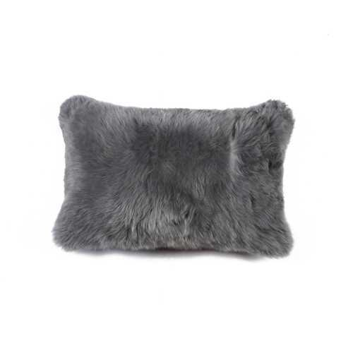 "12"" X 20"" Gray Sheepskin Pillow"