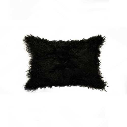 "12"" x 20"" x 5"" Black Sheepskin - Pillow"