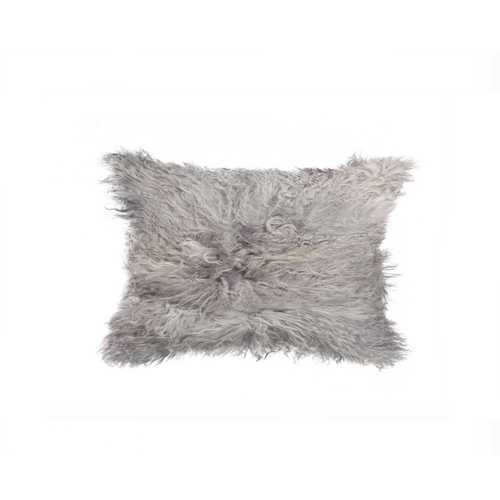 "12"" X 20"" X 5"" Gray Sheepskin Pillow"