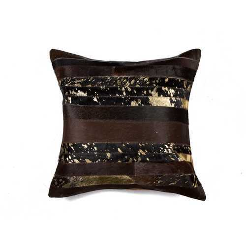 """18"""" X 18"""" X 5"""" Chocolate And Gold Pillow"""