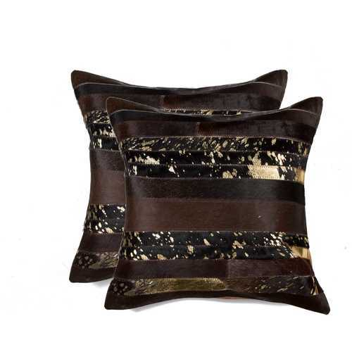 """18"""" X 18"""" X 5"""" Gold And Chocolate 2 Pack Pillow"""