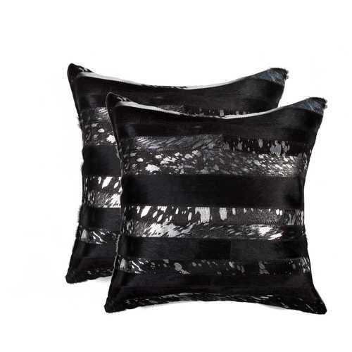 """18"""" X 18"""" X 5"""" Gold And Black 2 Pack Pillow"""