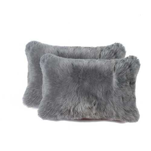 "12"" X 20"" X 5"" Gray 2 Pack Sheepskin Pillow"
