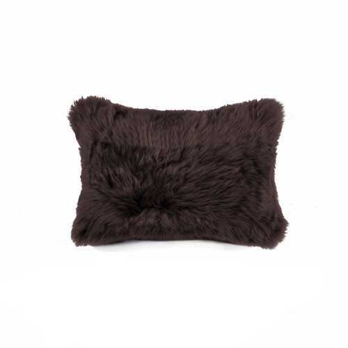 "12"" X 20"" Chocolate Sheepskin Pillow"