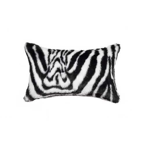 "12"" X 20"" Denton Zebra Black & White Faux Pillow"