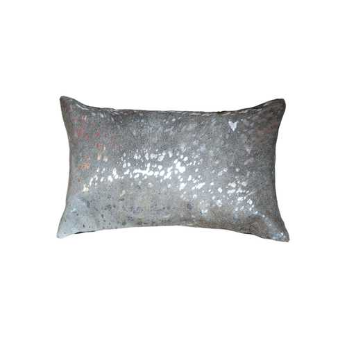 "12"" x 20"" x 5"" Silver And Gray Cowhide - Pillow"