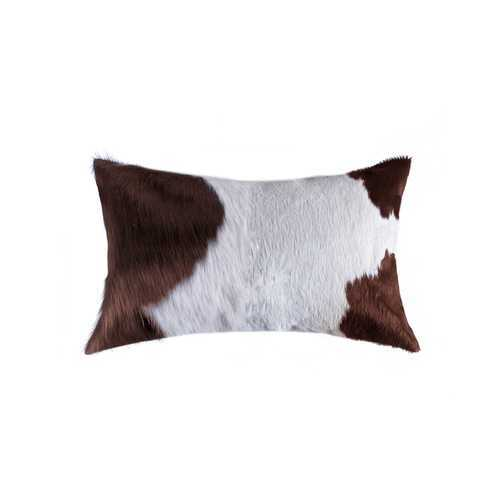"12"" x 20"" x 5"" White And Brown Cowhide - Pillow"