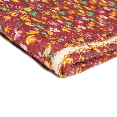 "50"" X 70"" Maroon Warm And Soft Kantha Cotton Throw Blanket"