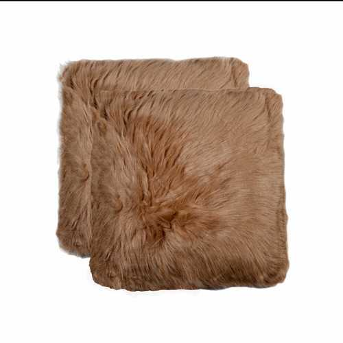 """18"""" X 18"""" Tan Faux 2-Pack Pillow"""