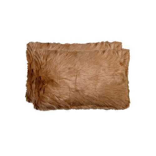 "12"" X 20"" Tan Faux 2-Pack Pillow"