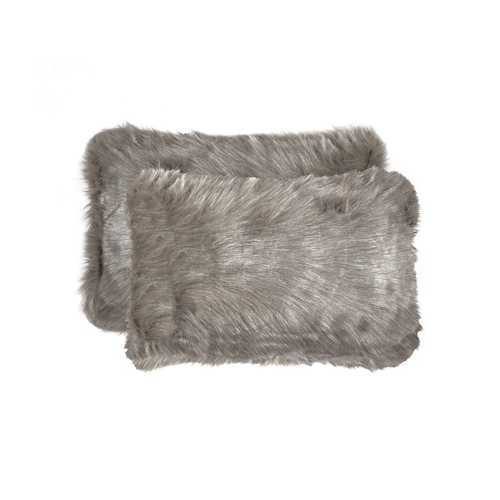 "12"" X 20"" Gray Faux 2-Pack Pillow"