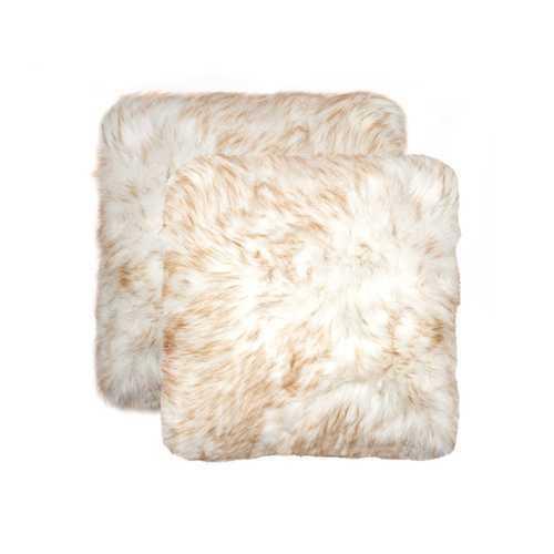 """18"""" X 18"""" Gradient Tan Faux 2-Pack Pillow"""