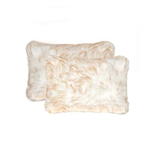 "12"" X 20"" Gradient Tan Faux 2-Pack Pillow"