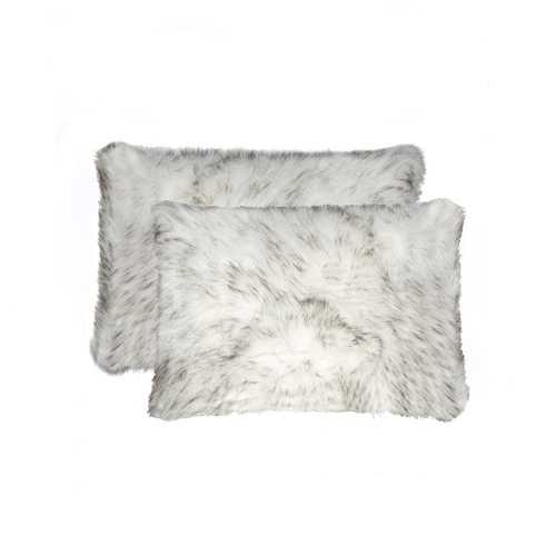 "12"" X 20"" Gradient Gray Faux 2-Pack Pillow"