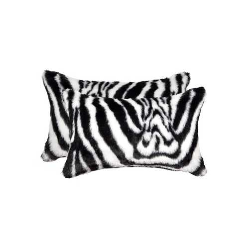 "12"" X 20"" Denton Zebra Black & White Faux 2-Pack Pillow"