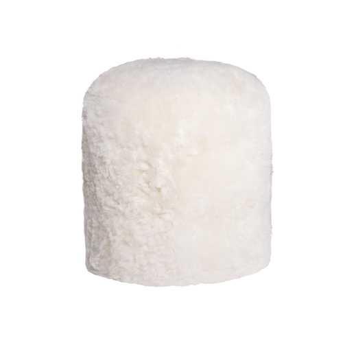 """16.5"""" X 18"""" X 5"""" White Short-Hair Sheepskin Stump Pouf"""