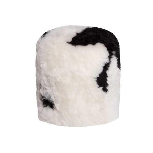 "16.5"" X 18"" X 5"" Spotted Short-Hair Sheepskin Stump Pouf"