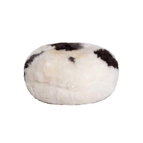 "16.5"" X 16.5"" X 14"" Spotted Short-Hair Sheepskin Ottoman Pouf"