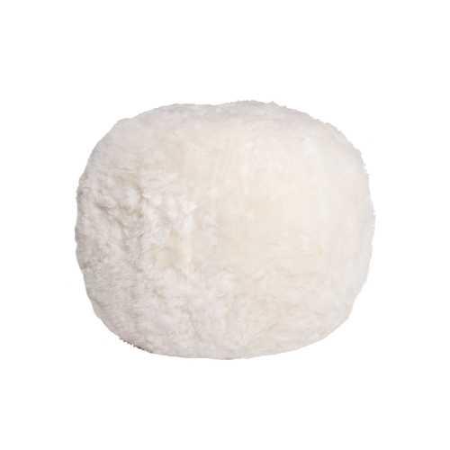 """14"""" X 14"""" X 11"""" White Short-Hair Sheepskin Floor Cushion"""