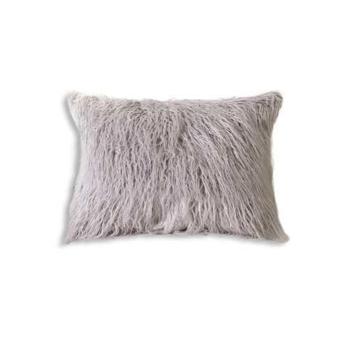 """12"""" X 20"""" Sage Gray Faux Sheepskin Pillow"""