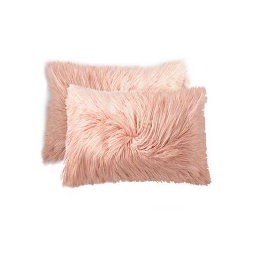 "12"" X 20"" Dusty Rose Faux Sheepskin 2-Pack Pillow"