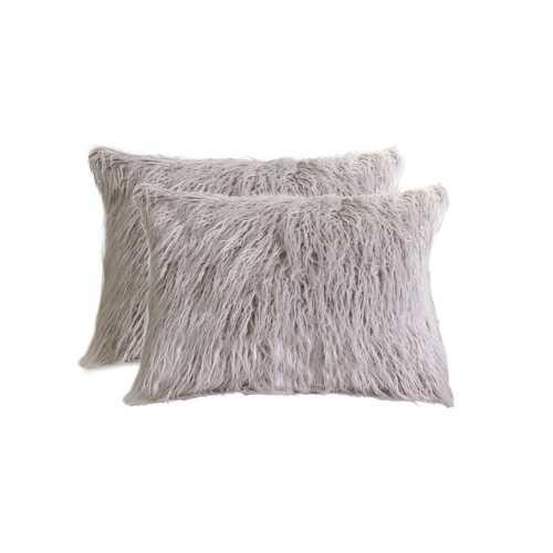 """12"""" X 20"""" Sage Gray Faux Sheepskin 2-Pack Pillow"""