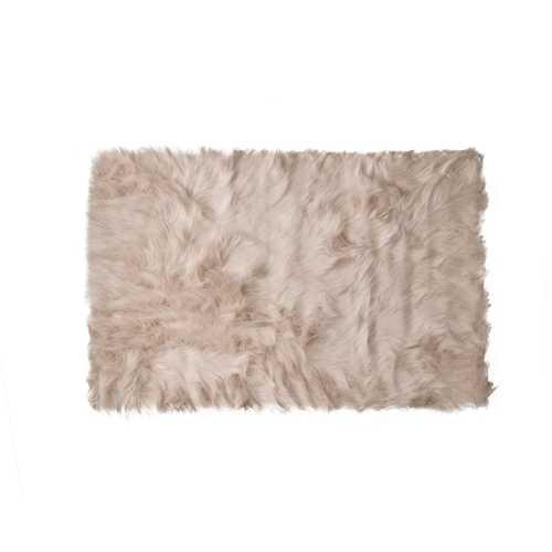 2' X 3' Taupe Acrylic Plush Faux Sheepskin Area Rug