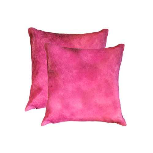 "18"" X 18"" X 5"" Fuschia 2 Pack Cowhide Pillow"