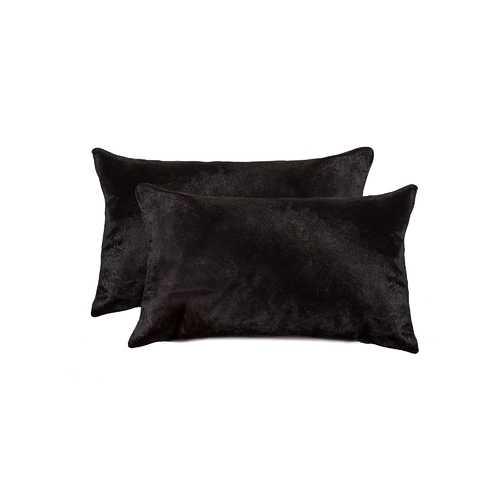 "12"" X 20"" X 5"" Black 2 Pack Cowhide Pillow"