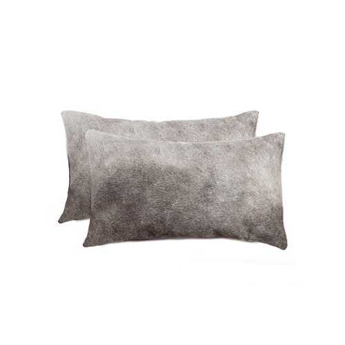 "12"" X 20"" X 5"" Gray 2 Pack Cowhide Pillow"