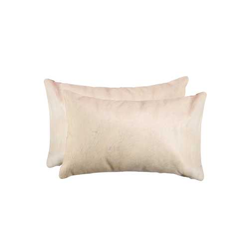 """2-Pack Cowhide Pillow 12"""" X 20"""" - Natural"""
