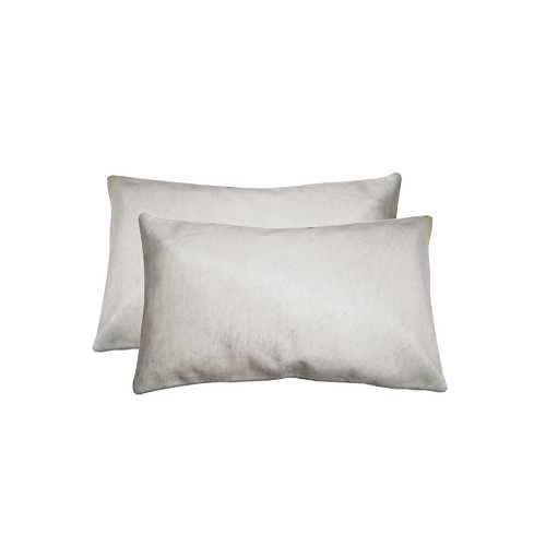 "12"" X 20"" X 5"" Off White 2 Pack Cowhide Pillow"