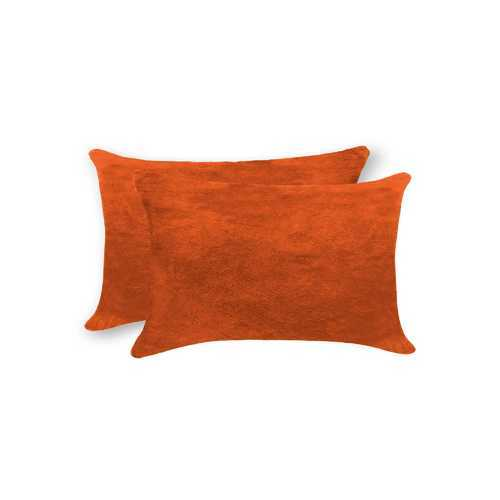 "12"" X 20"" X 5"" Orange 2 Pack Cowhide Pillow"