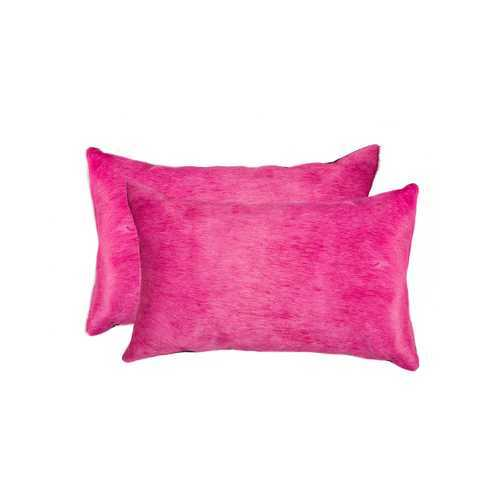 "12"" X 20"" X 5"" Fuschia 2 Pack Cowhide Pillow"