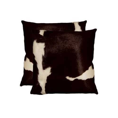 """18"""" X 18"""" X 5"""" Chocolate And White 2 Pack Cowhide Pillow"""