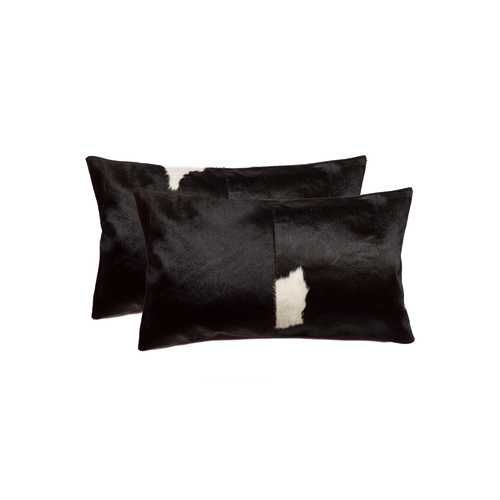 "12"" x 20"" x 5"" Black And White, Cowhide - Pillow 2-Pack"