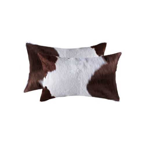 "12"" x 20"" x 5"" White And Brown, Cowhide - Pillow 2-Pack"