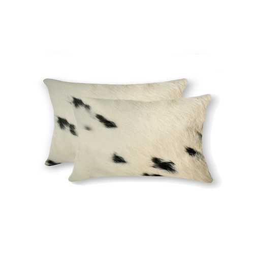"12"" x 20"" x 5"" White And Black, Cowhide - Pillow 2-Pack"