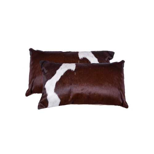 "12"" x 20"" x 5"" Chocolate And White, Cowhide - Pillow 2-Pack"