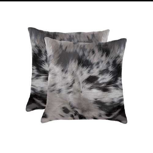 "16""X16"" Salt And Pepper, Black And White, Cowhide - Pillow 2-Pack"