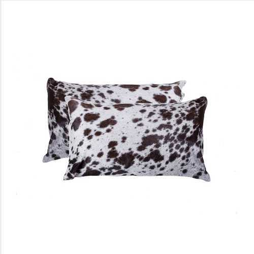 "12"" X 20"" X 5"" Salt And Pepper Chocolate And White 2 Pack Cowhide Pillow"