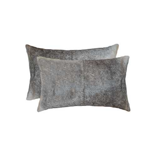 "12"" X 20"" X 5"" Salt And Pepper Gray And White 2 Pack Cowhide Pillow"
