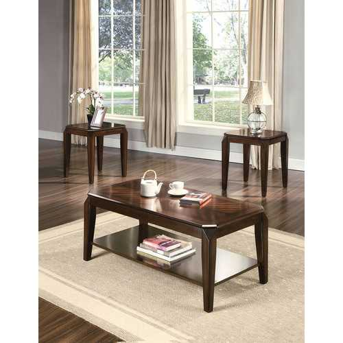 "1"" X 1"" X 47"" 3Pc Walnut Poplar Wood Pack Coffee And End Table Set"