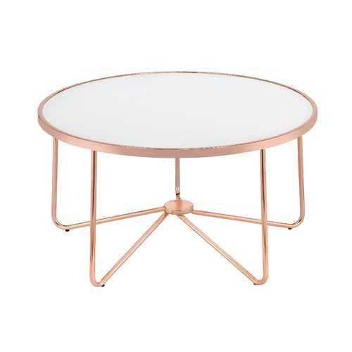 Alivia Coffee Table in Frosted Glass & Rose Gold