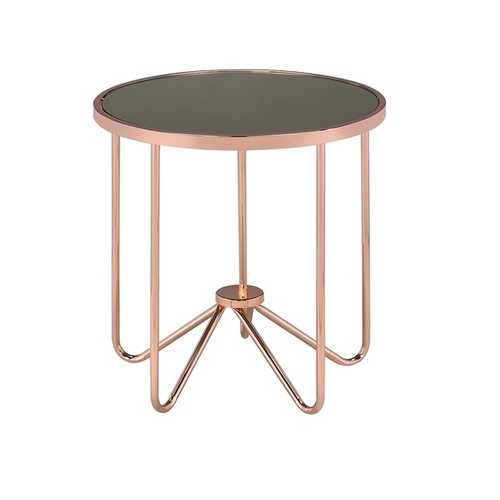 End Table In Smoky Glass & Rose Gold - Glass, Metal Tube Smoky Glass & Rose Gold