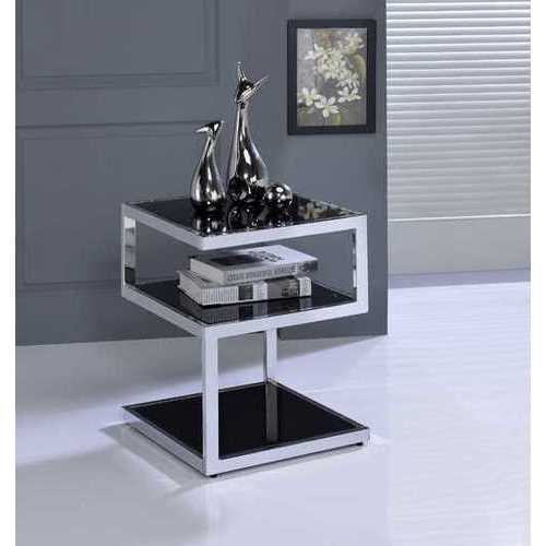 "12"" X 18"" X 24"" Weathered Oak And Chrome Metal Tube Side Table"