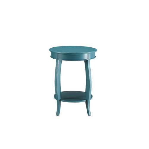 "18"" X 18"" X 24"" Teal Solid Wood Leg Side Table"